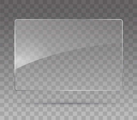 Glass plate on transparent background. Realistic transparent glass window in rectangle frame. Vector illustration