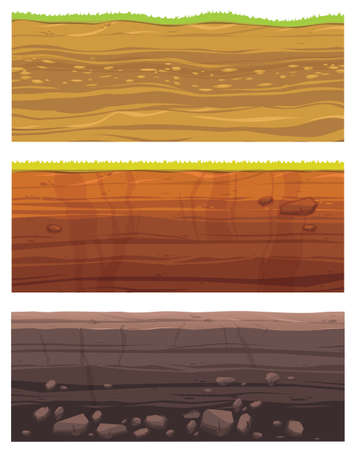 Set of grounds layers. Illustration of cross section of ground with layered dirt clay, ground layer with stones and grass on dirts cliff texture. Archeology landscape cartoon vector