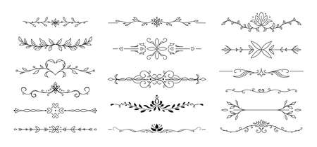 Flower text divider line. Ornamental divider and leaves ornaments. Vector Illustration