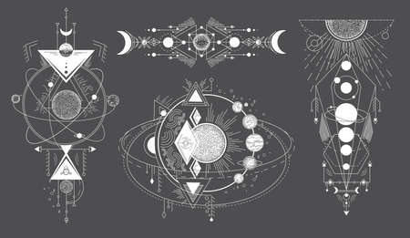Tattoos of space subjects with star systems. Vector set of geometric abstract magical tattoo on black background. Illuminati or masonic tatoo, esoteric paranormal occult vector illustration
