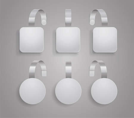Wobbler template. Set of bended white blank wobblers round and square shapes