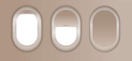 Open and closed window in plane. Gray airplane window, gray light template, plain aircraft window white space Vektorgrafik