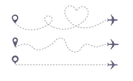 Set of Airplane line path vector icon of air plane flight route. Vector love airplane route