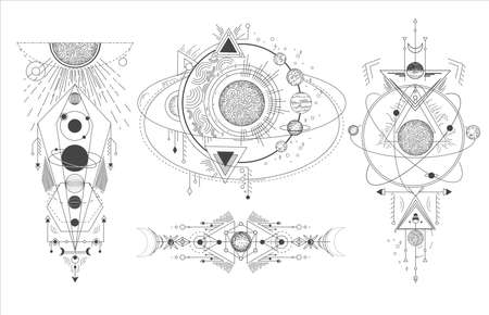 Vector set of sacred geometric symbols with moon, planet and arrows isolated on white background