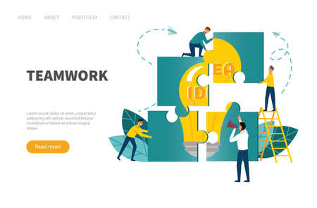 Teamwork concept. Banner people connecting puzzle elements.Vector illustration flat design style Illustration