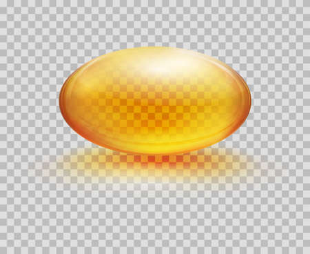 Oil capsule oval form. Cosmetic capsule of vitamin E, A or omega 3 oil. Vector realistic serum droplet of collagen essence isolated on transparent background