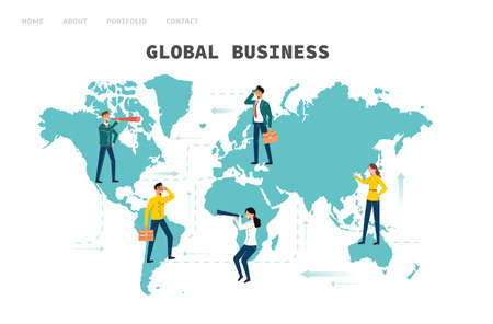 Global Business. People from different countries are looking for business partners, opportunities for expansion