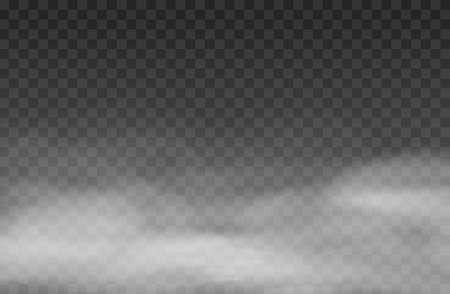 Fog effect. White vector cloudiness, mist background. Smoke cloud on transparent background. Vector illustration.