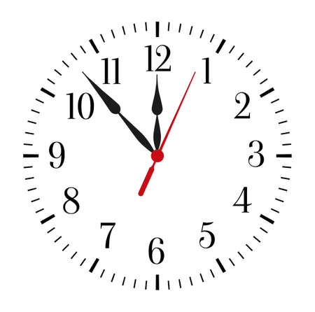 Clock face on white background. Classic black and white round wall clock. Vector illustration.