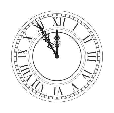 Vintage clock. Vector antique old clock. Vector illustration