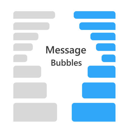 Set of chat speech bubbles. Chat messenger at bubble form in flat style. Blank message for text for web, phone with gray and blue color Ilustrace