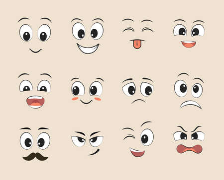 Set of funny faces. Cartoon faces with different expressions featuring the eyes and mouth, design elements. Vector illustrations.