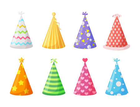 Party caps. Set of colorful cartoon birthday hat cap for celebration party. Vector illustration. Vetores