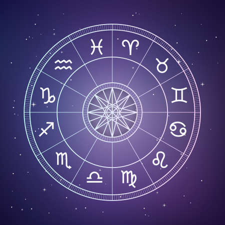 Zodiac circle. Astrology and horoscopes concept. Vector zodiac wheel with zodiac signs on a space background Illustration