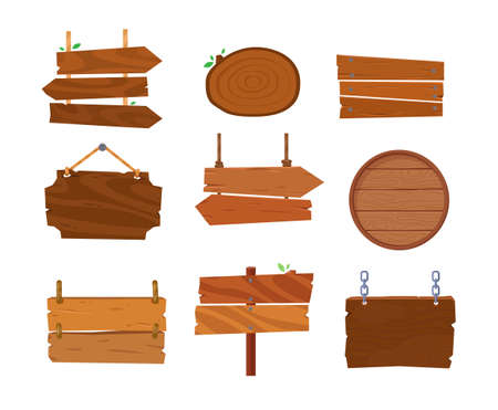 Cartoon wooden signage. Old west wood board. Wooden signboard or plank for banner message. Signs for messages or pointers with arrow for pathfinding