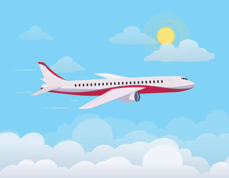 Airplane flying up against the sky, flying through clouds in the blue sky. Flat design style. Vector illustration.
