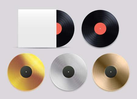 Vinyl records set. Black, gold, silver bronze records vector