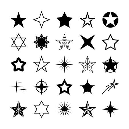 Star icons. Sparkles, shining burst. Vector symbols star isolated on white background