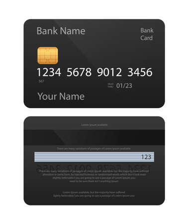 Realistic credit card. Black card. Front and back side template. Money, payment symbol. Vector illustration EPS10