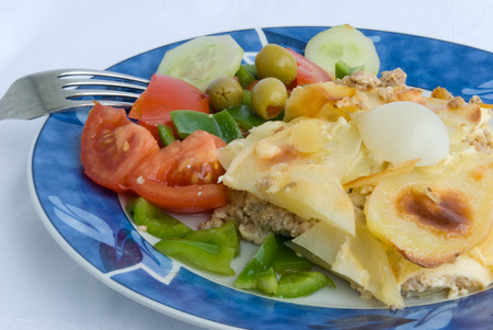 mincing: moussaka-gourmet greek meal with eggplant 3