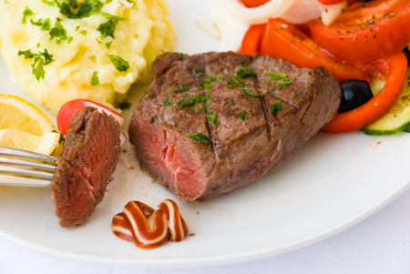 Steak-Medium-with Salad,Puree and Vegetable photo