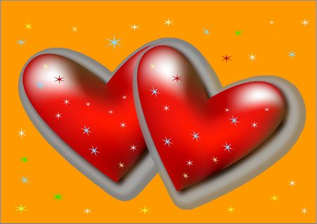 red hearts - vector photo