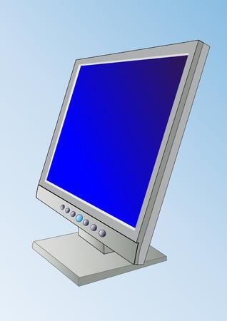 pc monitor: A flatscreen  - PC Monitor - Vector
