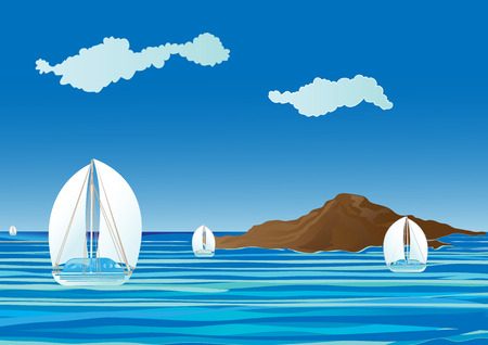 cloudless: sail boats on the sea Illustration