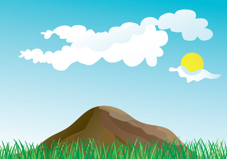 grass and mountains in the spring Vector