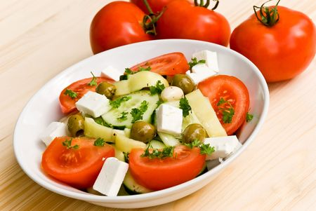 greek salad with mixed vegetables photo