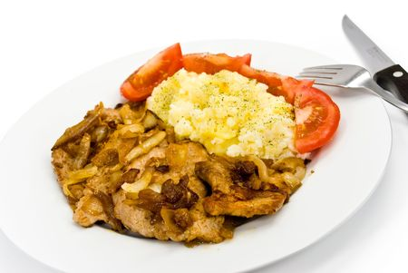 roasted pork cutlet with puree and tomato salad Stock Photo - 3412505