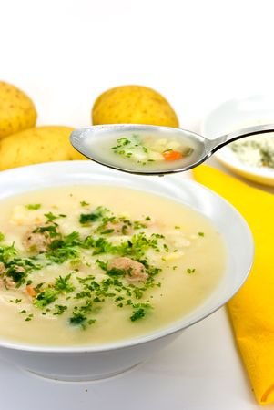 mincing: potato cream soup with chopped meat balls