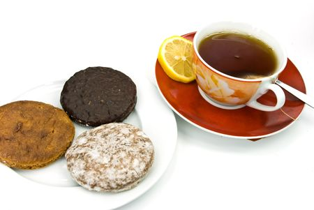 A cup of red tea with mixed cookies Stock Photo - 3532049