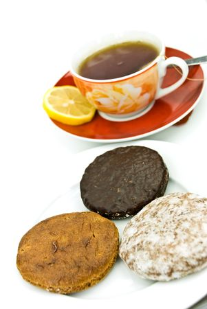 A cup of red tea with mixed cookies Stock Photo - 3532039