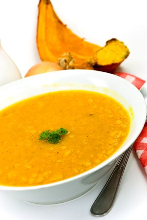 stew-soup with pumpkin,red bell pepper,green pea,mixed vegetable Stock Photo