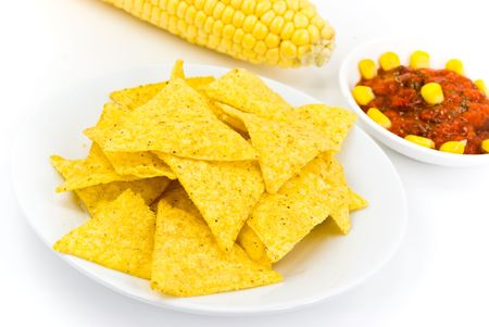 Glass bowls of salsa - dip and tortilla chips in kitchen or restaurant Stock Photo - 3596151