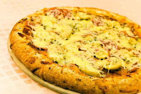 pizza with cheese,salami photo