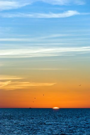 Sunset with Man in Naples,Florida photo