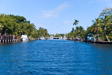 canal with yachts and community in fort lauderdale photo