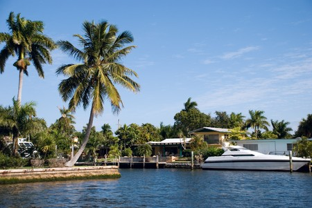 boater: canal with yachts and community in fort lauderdale