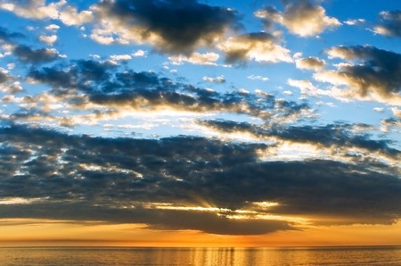 Sunset  with colorful clouds  on the pier in Naples,Florida photo