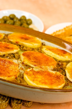 mincing: Mussaka- casserole - , with cheese,eggplant and baked potato