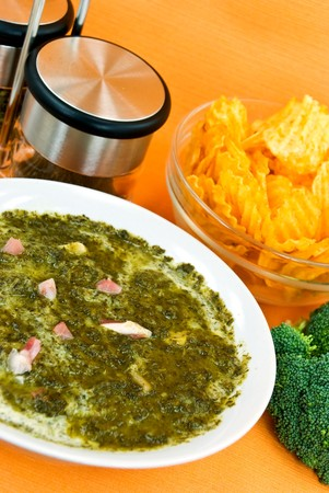 Gourmet Cream Soup With Green Cabbage And Slices Of Ham Stock Photo - 4185894