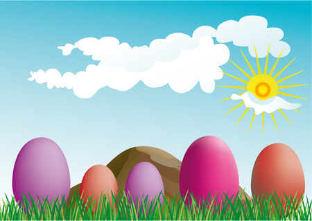 colorful easter eggs on the grass- vector Vector