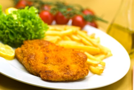 morsel: The dish full of meat -morsel of  the veal crunchy chops