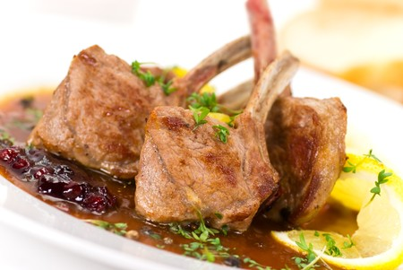 Close up picture of a roasted lamb chop-fillet- and vegetables