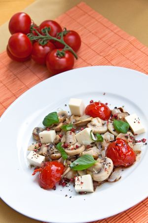 Mozzarella with mushrooms photo
