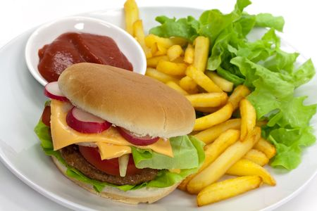 hamburger with lettuce,cheddar,tomato,fries