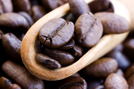 wooden scoop: Coffee Beans with wooden scoop