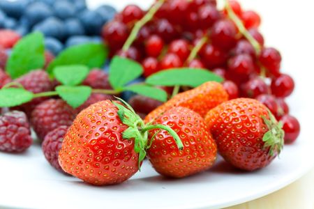 Fresh summer berries background photo